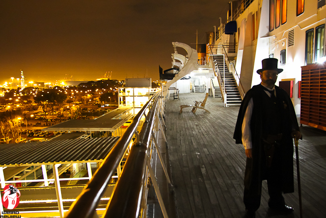 A Shadowy figure on the deck of the Queen Mary