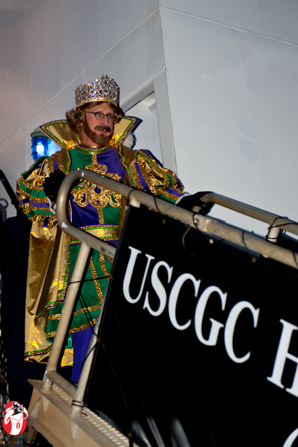 The King of the Rex parade debarking from the Coast Guard ship - Photo by Captain Brian