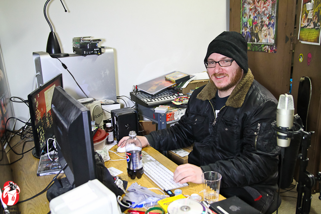 Travis Campbell at his desk editing the PETA PSA