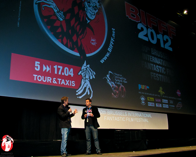 "Yours Truly on stage with Master of Ceremonies Stéphane Everaert introducing ""Pig"""