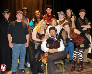 Jon Magnificent, John White, and the cast of the Airship Neverland at the World Steam Expo