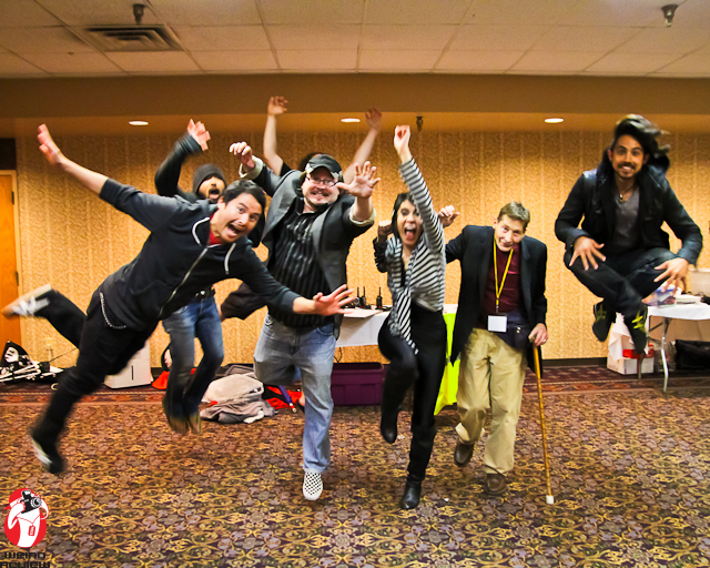 "Jumping for Joy with, Robert ""Lord Zedd"" Axlerod, Sonny Strait, Eyeshine and Cristina Vee at Anime-ZING! ©2012 John N Collins"