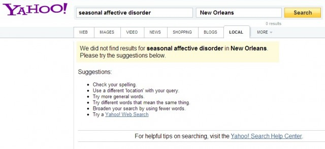 According to Yahoo, there is non SAD in New Orleans