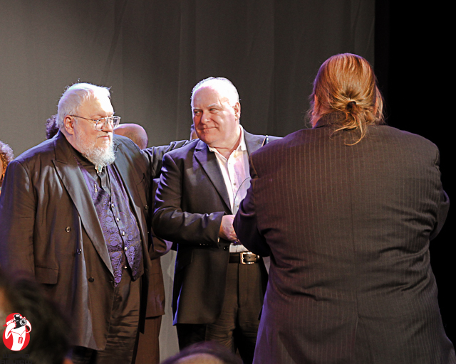George R R Martin and Ron Donachie after they received the Hugo at World Con 70