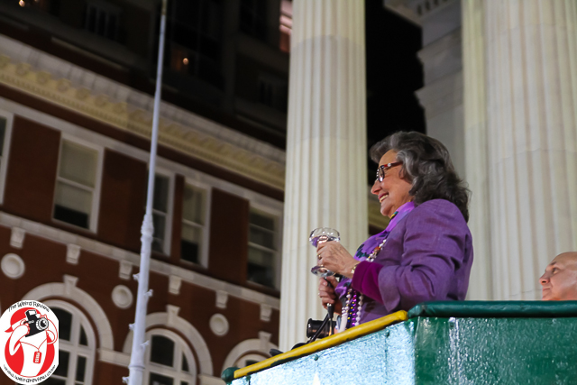 Commission President Jacqueline Brechtel-Clarkson toasts the Krewe Royalty