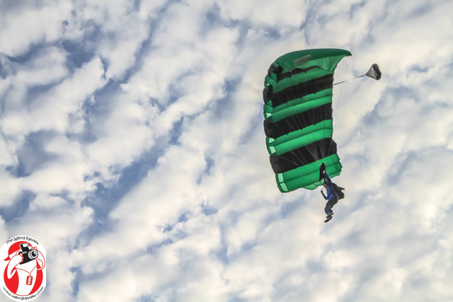 Olga Wilhelmine glides to the Gold Coast Skydivers Drop Zone from a drop almost three miles up!