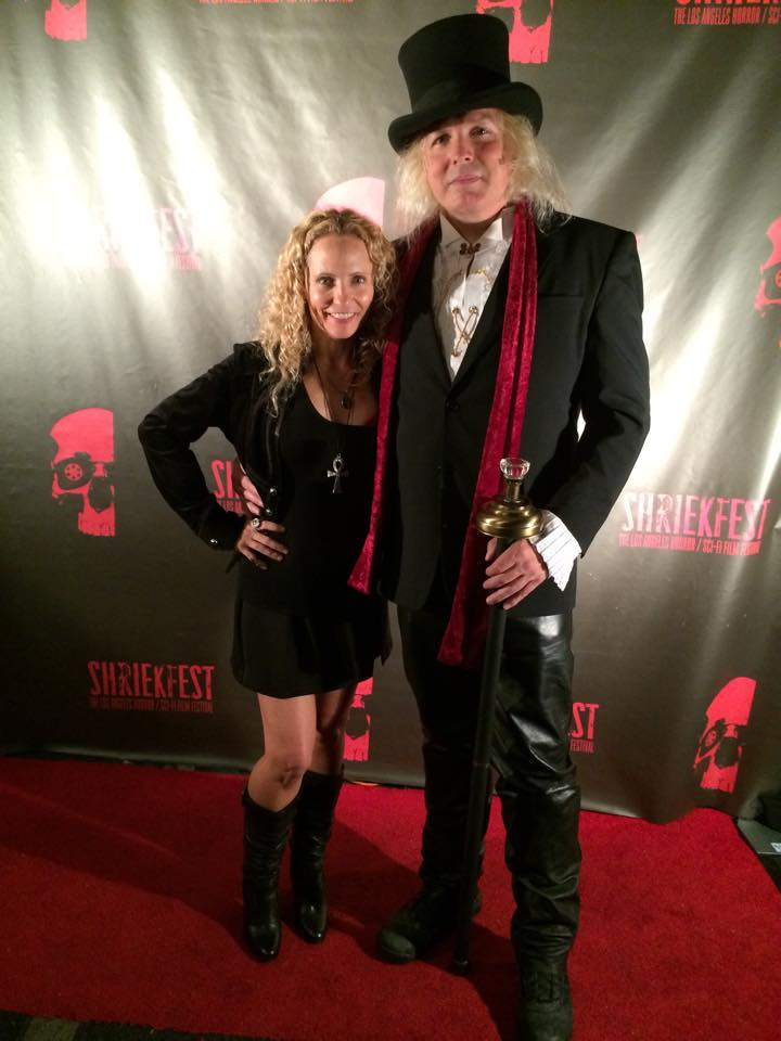 Shriekfest Founder and Director, Denise Gossett, and award winning Composer (presenter of the Best Sci Fi Feature for The Weird Review) Jon Benton MacKinder At Shriekfest 2014