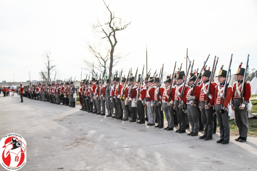 British soldiers line up at the bicentenial of the Battle of New Orleans