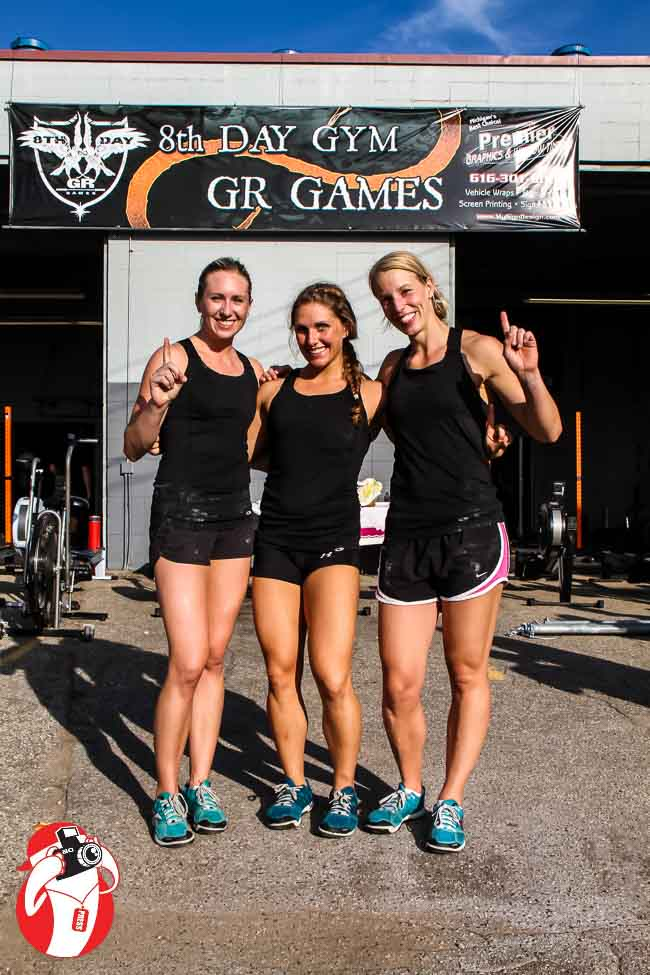 "the first place team was 8th Day Gym's ""It's Not Bulking Season"" with Brandi Harr, Rachel Elery, and Heather Paas"