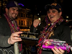 These were all the Nyx purses this photographer saw last night and these two fellows seemed to have a Siren's call for Nyx throws!